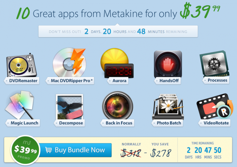here is the Screenshot of the MacUpdate Metakine Bundle